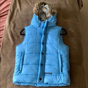 Burton Light Blue Faux Fur Hood Puffer Vest
